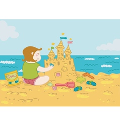 girl and sandcastle vector image vector image