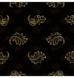 Gold vintage seamless floral pattern vector