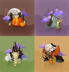 Halloween concepts set of backgrounds vector image
