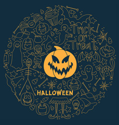 Halloween dark background big hand-drawn vector