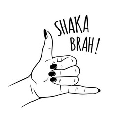 hand drawn female in shaka sign gesture vector image