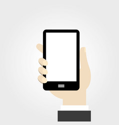 hand holding mobile phone in flat design style vector image