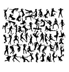 Happy and fun breakdancer silhouettes vector