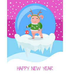 happy new year postcard with pig in green sweater vector image
