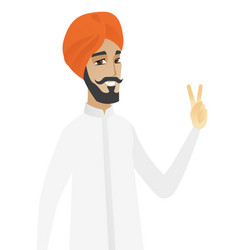 hindu businessman showing victory gesture vector image