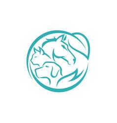 Horse dog cat animal logo design template vector