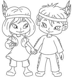Indian Boy And Girl Holding Hands For Thanksgiving vector image
