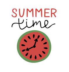 Inscription with hand lettering summer time and vector