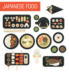 Japanese food sushi and seafood fish and green tea vector
