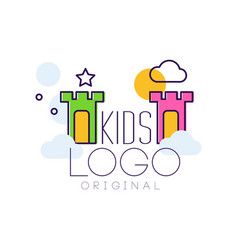 Kids logo original creative concept template hand vector