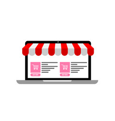 Laptop with awning and online e-commerce site with vector