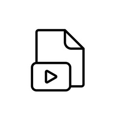 line video file play icon on white background vector image
