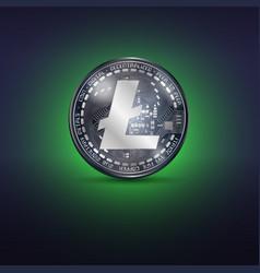 litecoin metal coin vector image