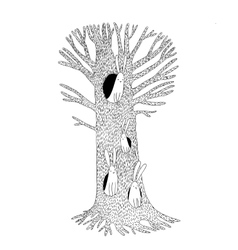 Magic Tree and hares vector image vector image