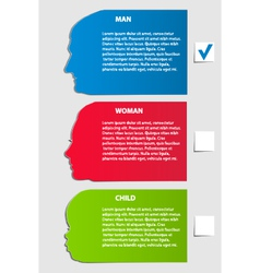 Man woman child paper options vector image