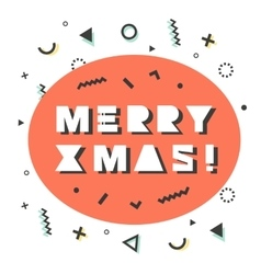 Merry Christmas card in retro 80s-90s style vector