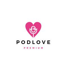 Mic love podcast logo icon vector