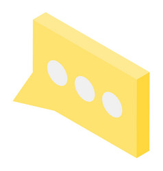 Modern yellow chat icon isometric style vector