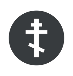 Monochrome round orthodox cross icon vector