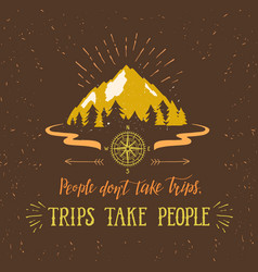 Mountain and forest hand drawn travel vector
