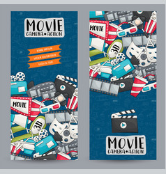 movie cinema theme vertical banner template set vector image