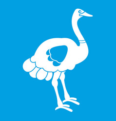 Ostrich icon white vector