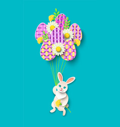 Papercut easter card with rabbit eggs vector