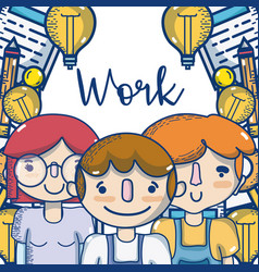 People and work cartoons vector