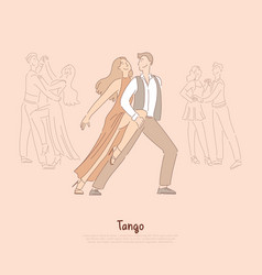 professional dancers man and elegant woman in red vector image