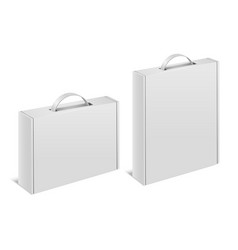 realistic detailed 3d white blank box case handle vector image