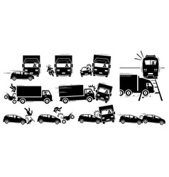 Road accident and vehicle crash collision icons vector