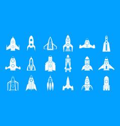 rocket icon blue set vector image