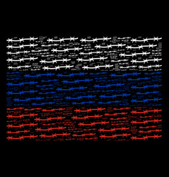 Russia flag collage of barbed wire items vector