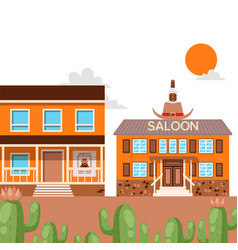 saloon in western american town flat style vector image