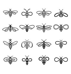 set black-and-white bees logos vector image
