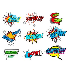 Set comic text pop art style phrases vector