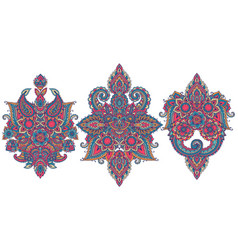 set henna floral elements vector image