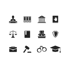 Set of black law and justice icons vector image