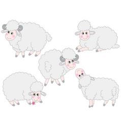 Set of cute cartoon sheep vector