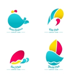 Set of logos for water activities vector