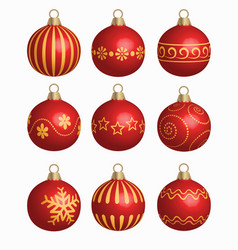 set of red christmas balls vector image