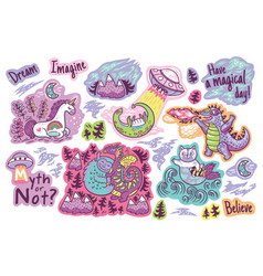 set of stickers patches with cute unicorn vector image