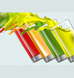 Set splashing juice glasses on transparent vector