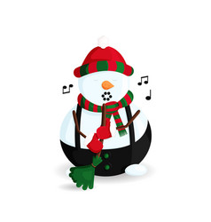 Singing snowman with broom vector