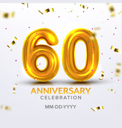 sixtieth anniversary celebration number vector image