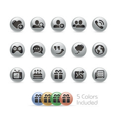 Social communications icons - metal round series vector