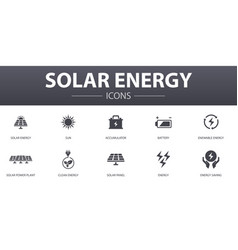 solar energy simple concept icons set contains vector image
