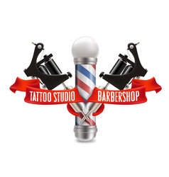 tattoo studio and barber shop label vector image