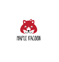 template icon racoon with maple leaf vector image