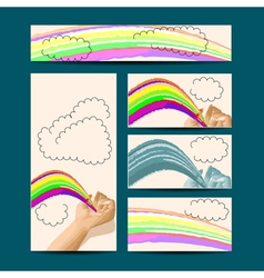 template with hand and rainbow vector image vector image